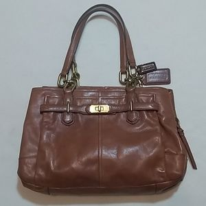 Coach Large Brown Leather Hand Bag Purse